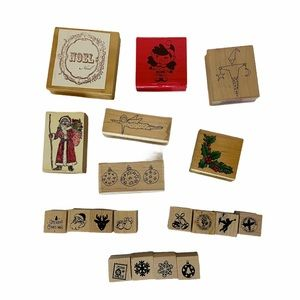 Lot of 19 Christmas/Holiday Rubber stamps